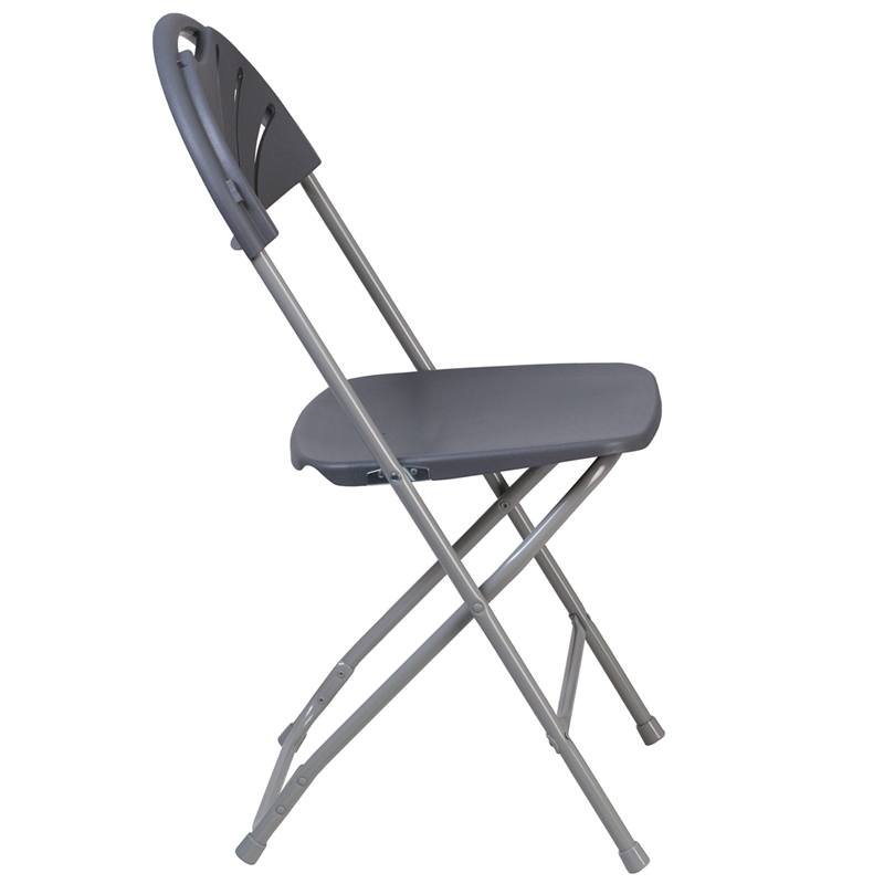 #19 - 650 LB. CAPACITY FAN BACK CHARCOAL PLASTIC FOLDING CHAIR
