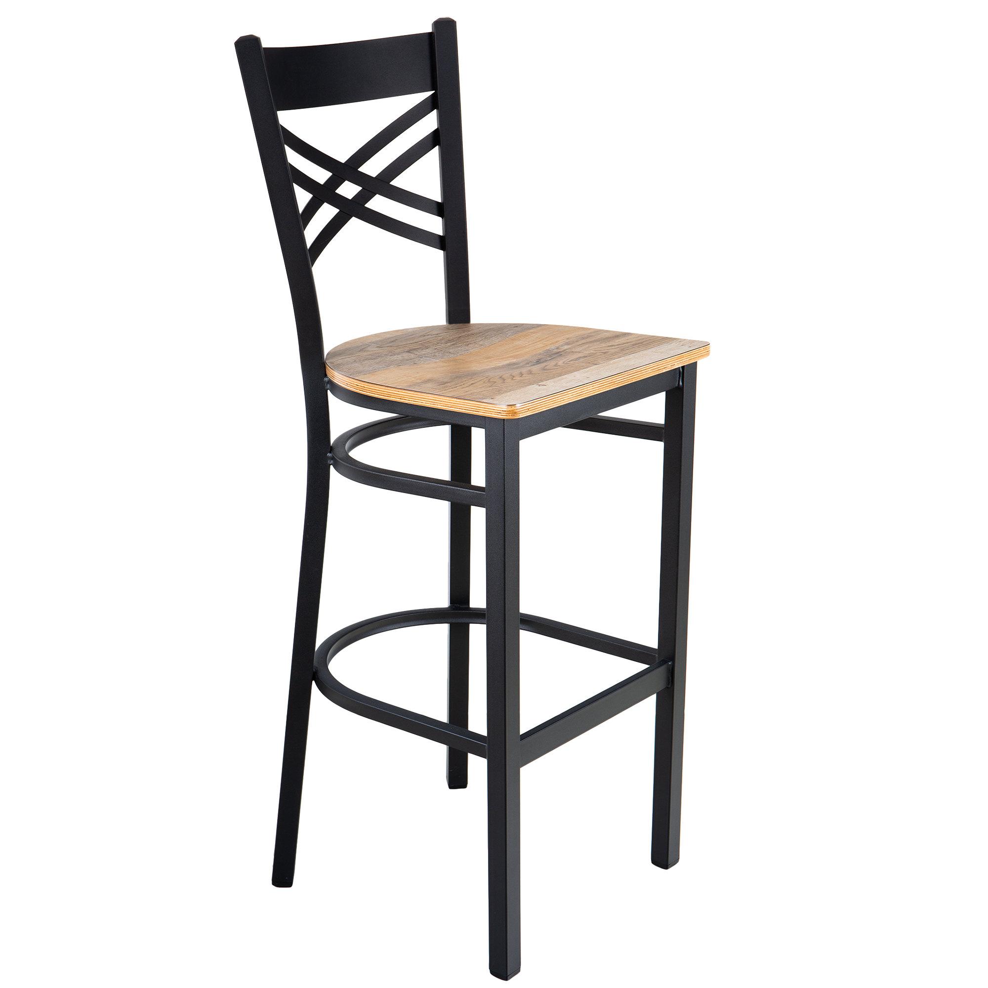 #198 - Black Metal Cross Back Restaurant Barstool with Driftwood Wood Seat