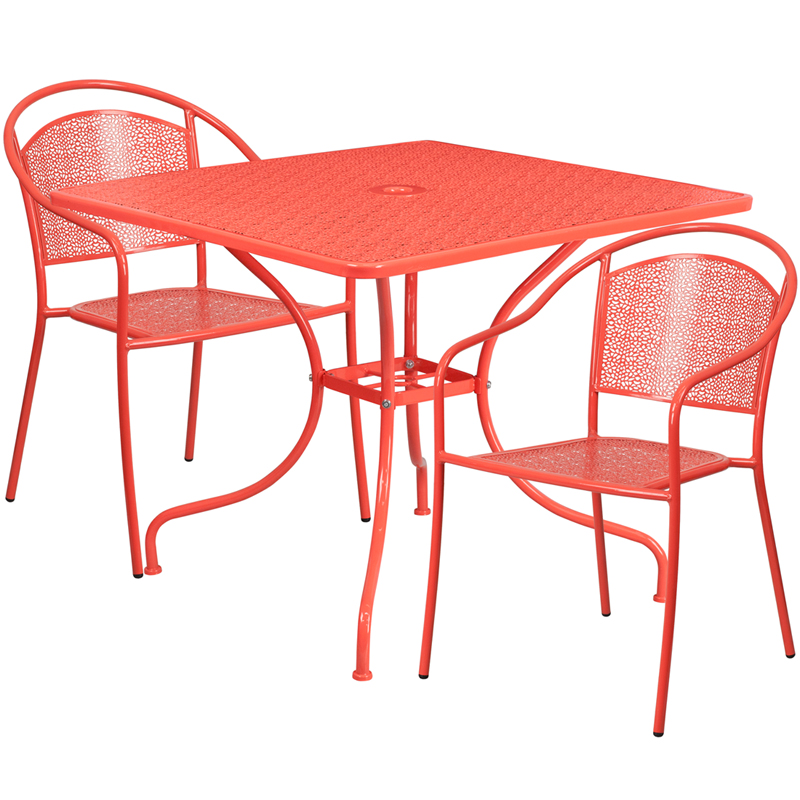 #177 - 35.25'' Square Coral Indoor-Outdoor Patio Restaurant Table Set with 2 Round Back Chairs