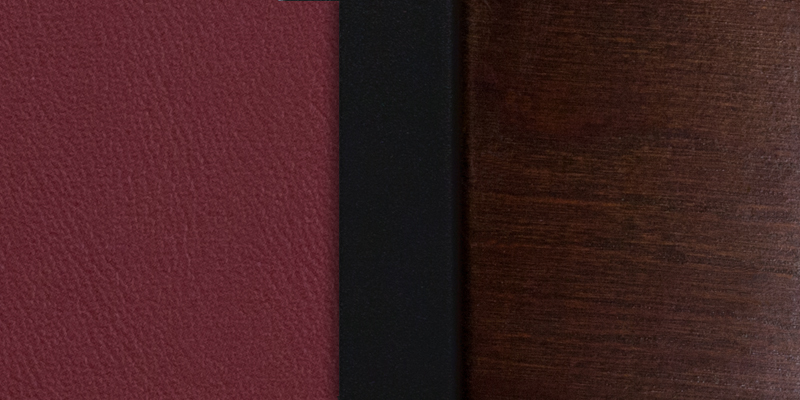 #2 - DECORATIVE SLAT BACK METAL RESTAURANT CHAIR - WALNUT WOOD & BURGUNDY VINYL
