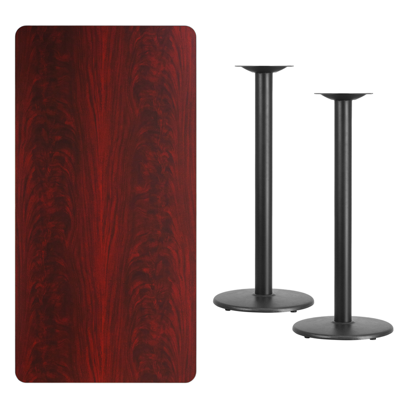 #235 - 30'' X 60'' RECTANGULAR MAHOGANY LAMINATE TABLE TOP WITH 18'' ROUND BAR HEIGHT BASES