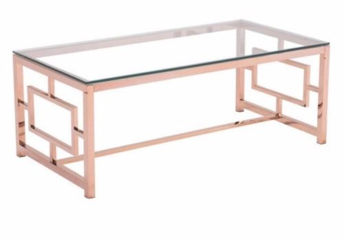 #167 - Slim & Sleek Design Coffee Table in Rose Gold Finish w/Clear Tempered Glass Top