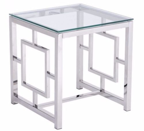 #168 - Slim & Sleek Design Side Table in Stainless Steel Finish w/Tempered Glass Top