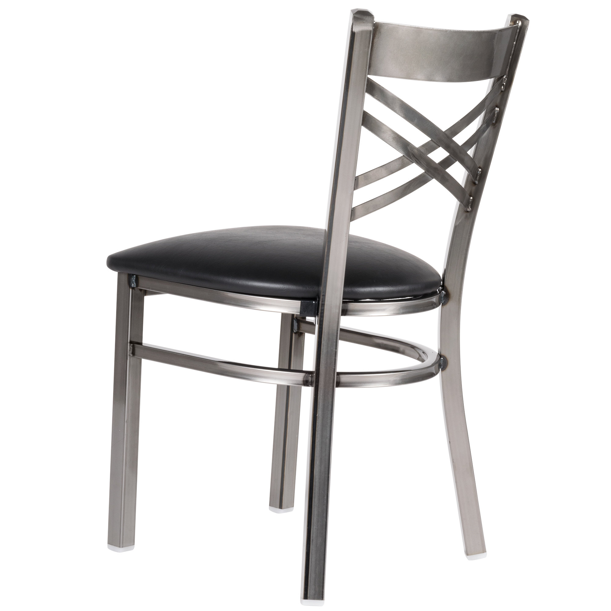 #122 - Clear Coat Steel Cross Back Restaurant Chair with Black Vinyl Padded Seat