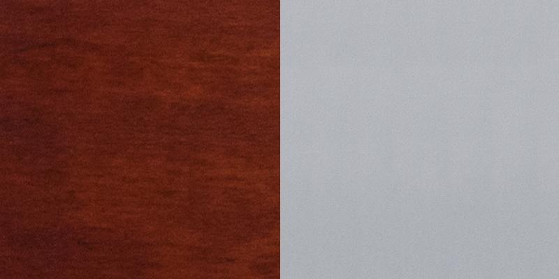 #20 - SILVER SLAT BACK METAL RESTAURANT CHAIR - MAHOGANY WOOD SEAT