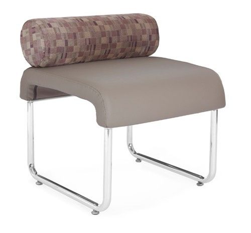 #138 - Uno Series Taupe Plum Copper Pillow Back Reception Lounge Seat