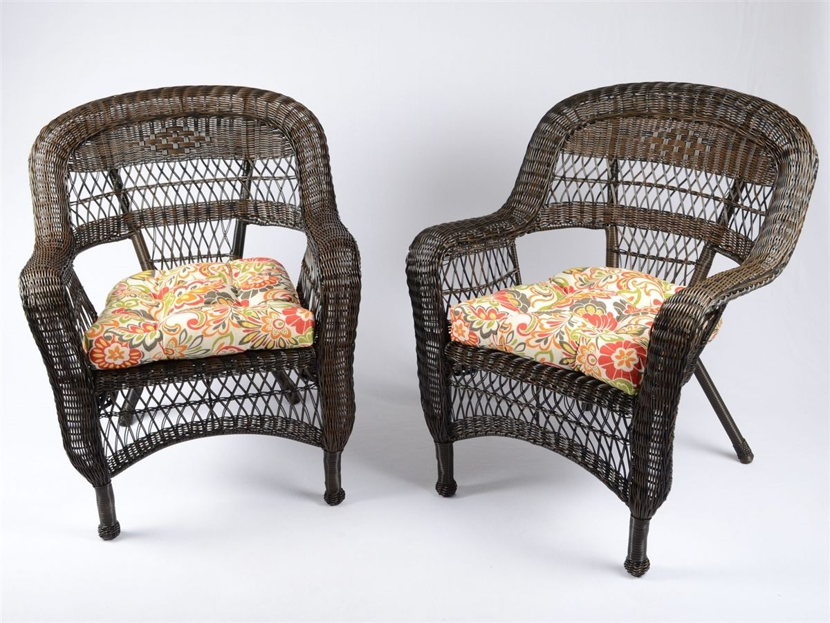 #189 - 2 Piece Outdoor Patio Garden Dark Roast Resin Wicker Arm Chairs w/Fabric Choice