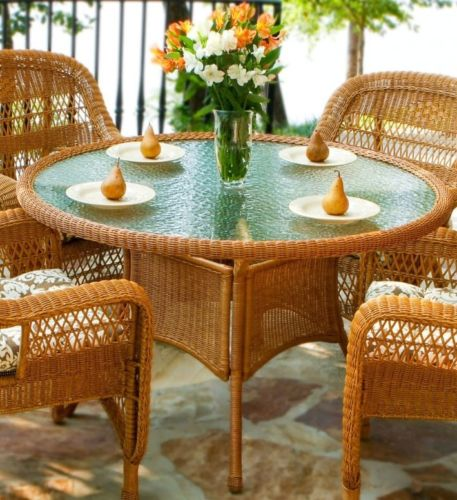 #27 - 5 Pcs Outdoor Patio Southwest Amber Resin Wicker Dining Set w/ Muse Mocha Fabric