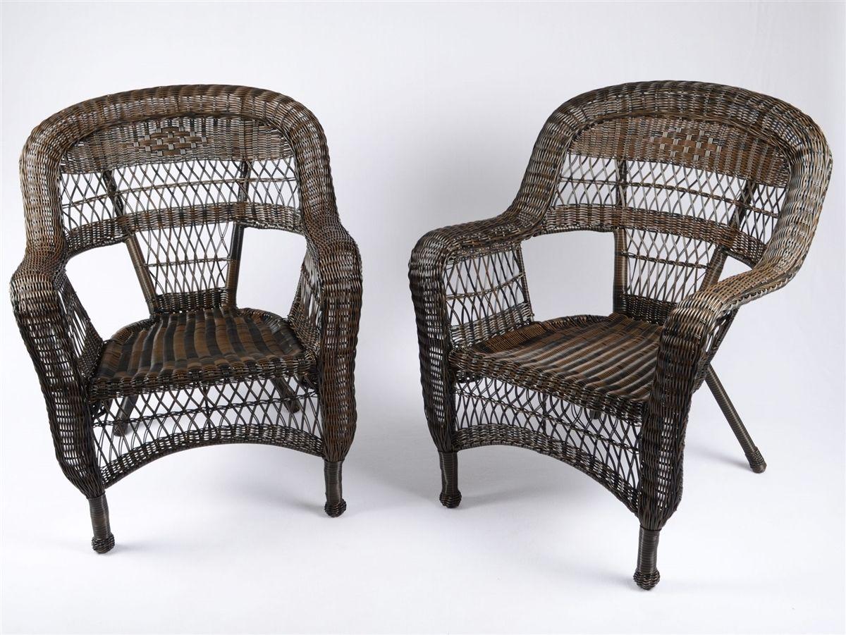 #189 - 2 Piece Outdoor Patio Garden Dark Roast Resin Wicker Arm Chairs w/Fabric Choice