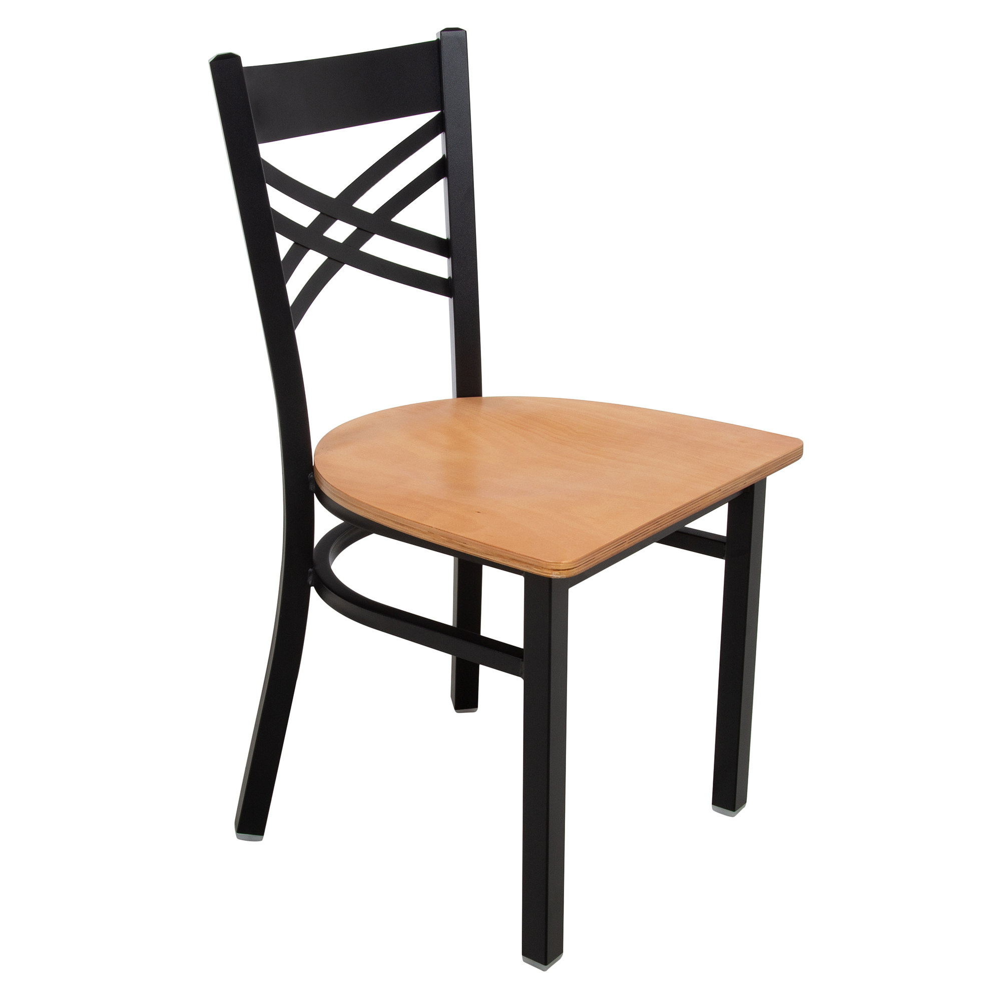 #156 - Black Cross Back Design Restaurant Metal Chair with Natural Wood Seat