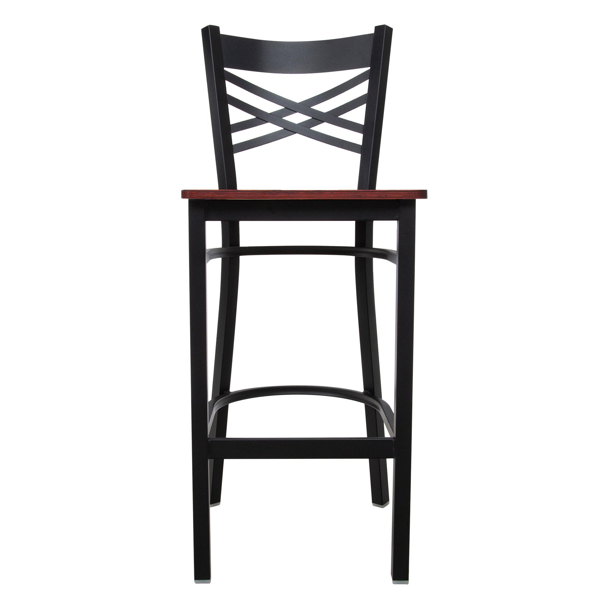 #199 - Black Metal Cross Back Restaurant Barstool with Mahogany Wood Seat