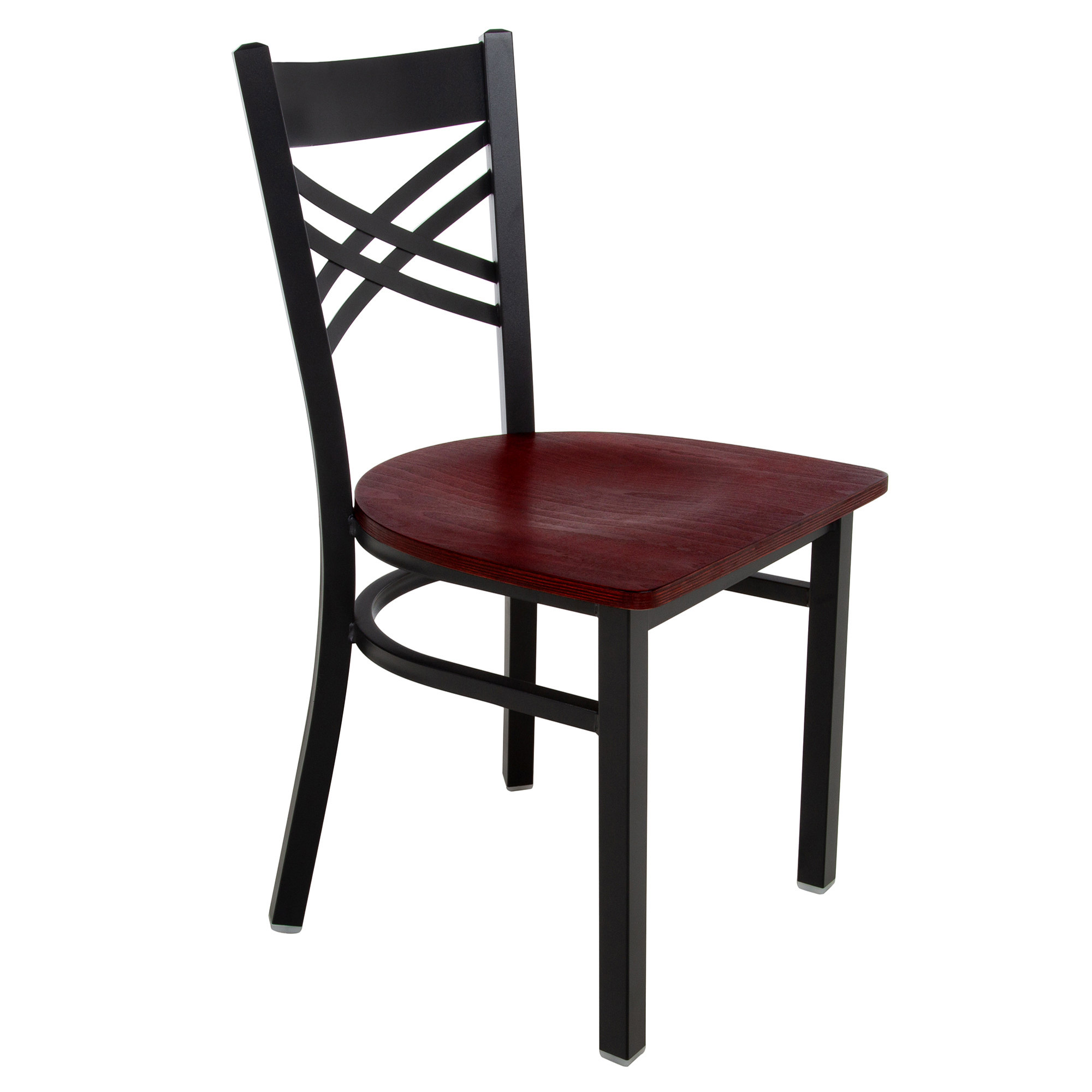 #155 - Black Cross Back Design Restaurant Metal Chair with Mahogany Wood Seat