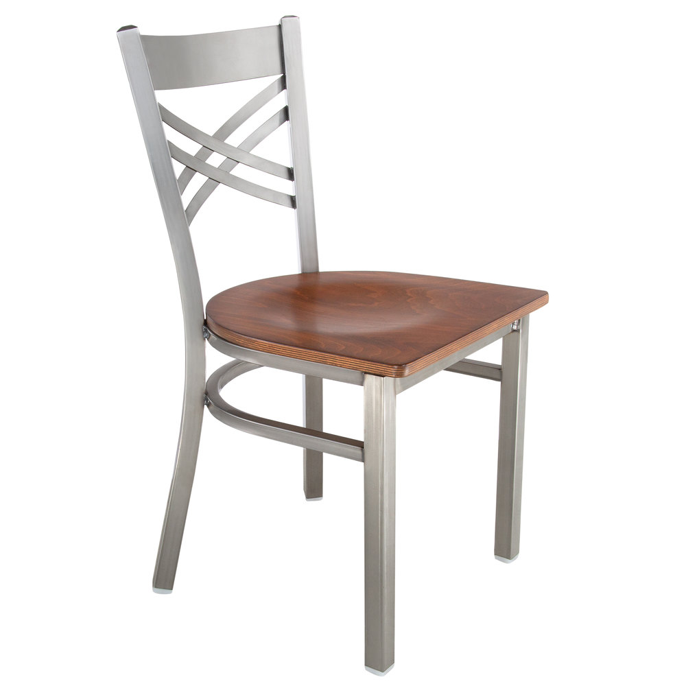 #131 - Clear Coat Steel Cross Back Restaurant Chair with Antique Walnut Wood Seat