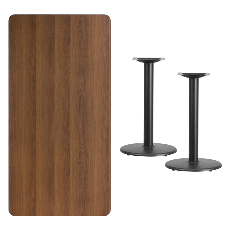 #238 - 30'' X 60'' RECTANGULAR WALNUT LAMINATE TABLE TOP WITH 18'' ROUND TABLE HEIGHT BASES
