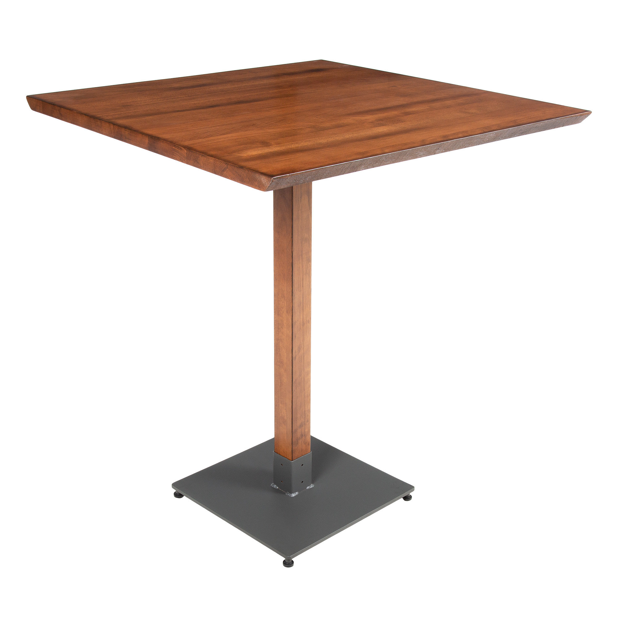"""#51 - 36"""" Square Antique Walnut Solid Wood Live Edge Bar Height Table"""