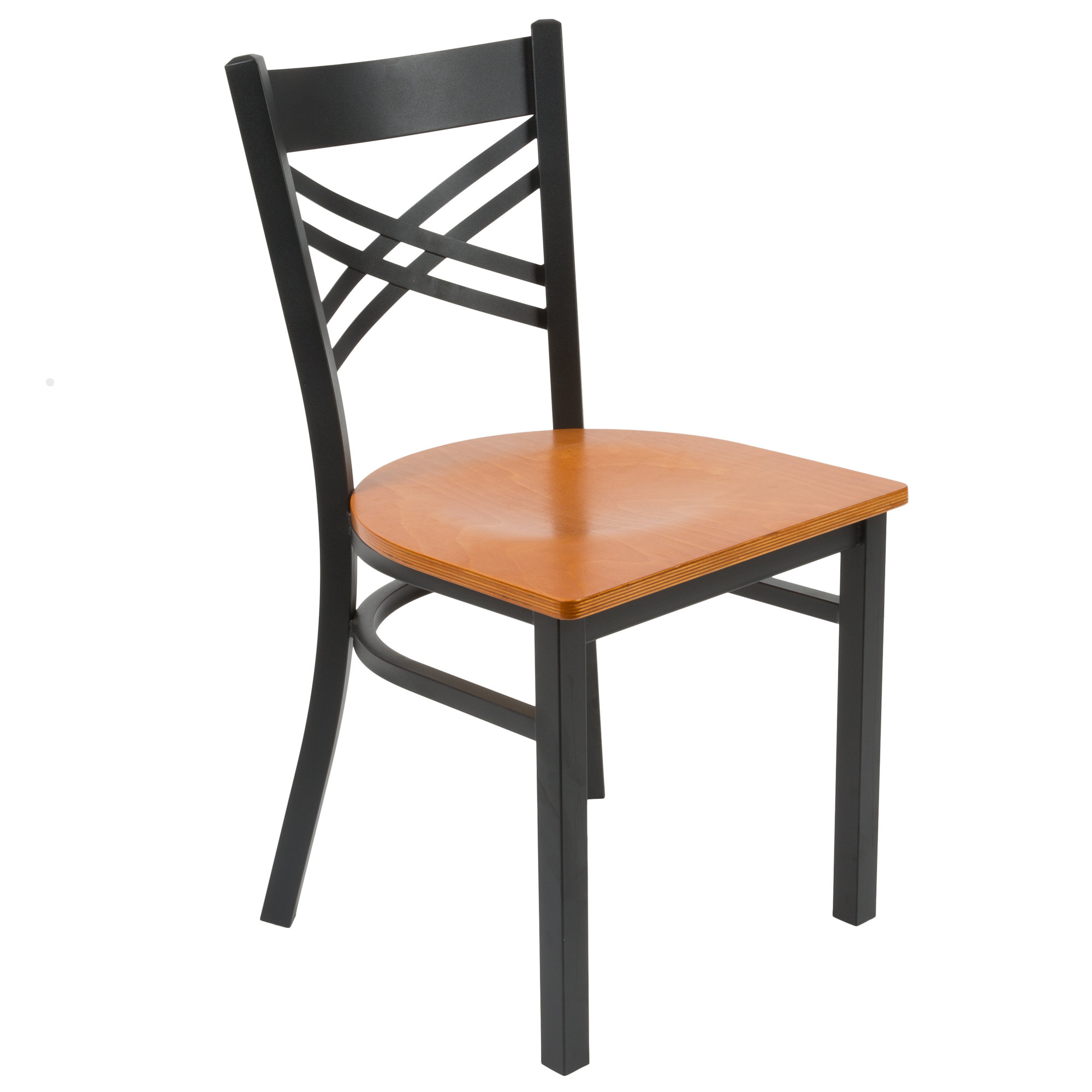 #153 - Black Cross Back Design Restaurant Metal Chair with Cherry Wood Seat