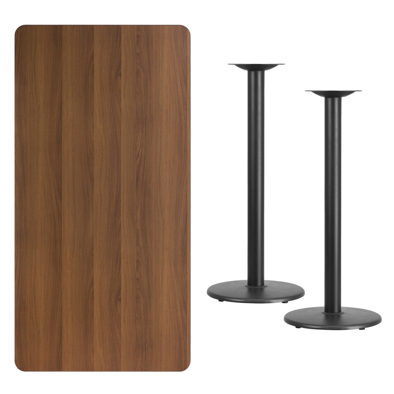 #239 - 30'' X 60'' RECTANGULAR WALNUT LAMINATE TABLE TOP WITH 18'' ROUND BAR HEIGHT BASES