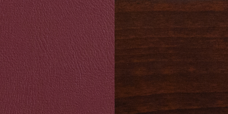 #5 - SLAT BACK WALNUT WOODEN RESTAURANT BARSTOOL - BURGUNDY VINYL SEAT
