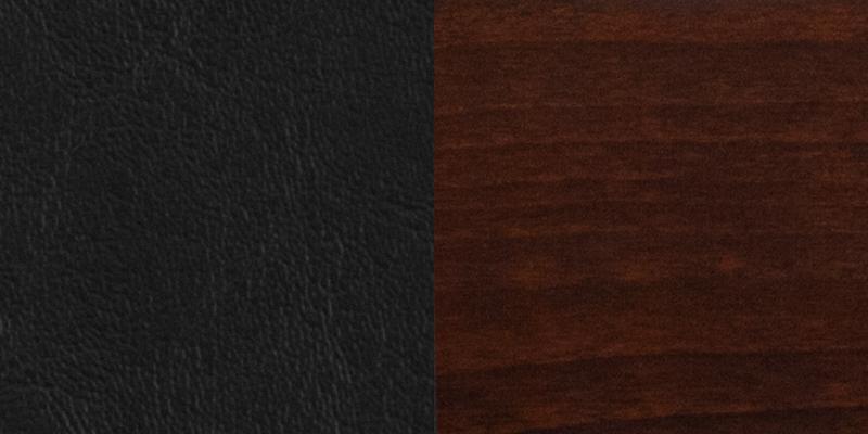 #4 - SLAT BACK WALNUT WOODEN RESTAURANT BARSTOOL - BLACK VINYL SEAT