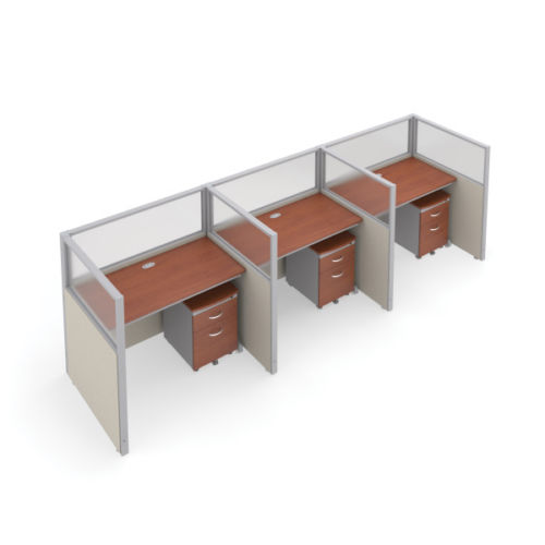 #9 - 47'' H x 48'' W Rize 3 Office Cubicle WorkStation in Beige Vinyl w/Cherry Finish