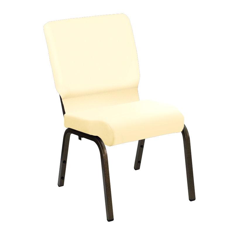 #3 - 18.5'' Wide Custom White Vinyl Church Chair with Gold Vein Frame
