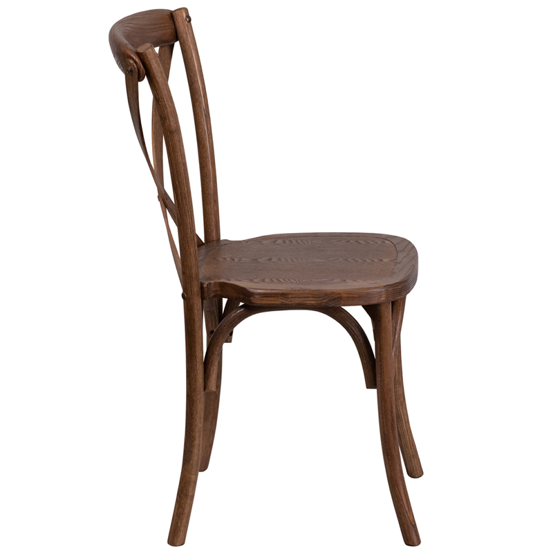 #51 - Bistro Style Cross Back Pecan Wood Stackable Restaurant Chair