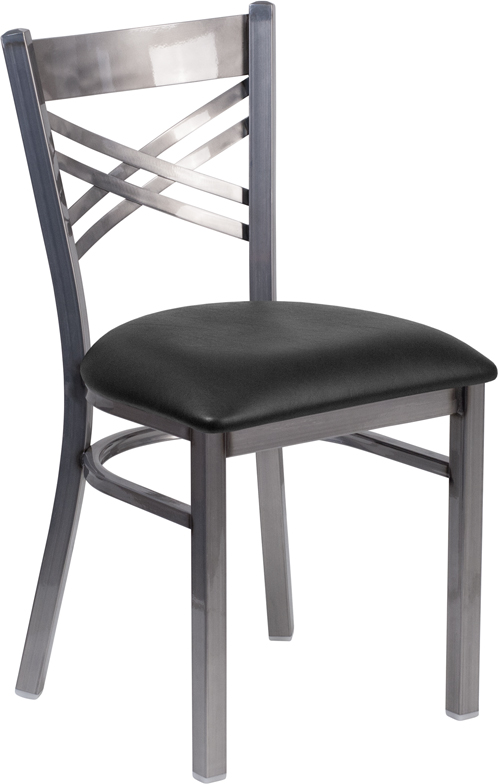 #28 - Clear Coated ''X'' Back Metal Restaurant Chair Black Vinyl Upholstered Seat