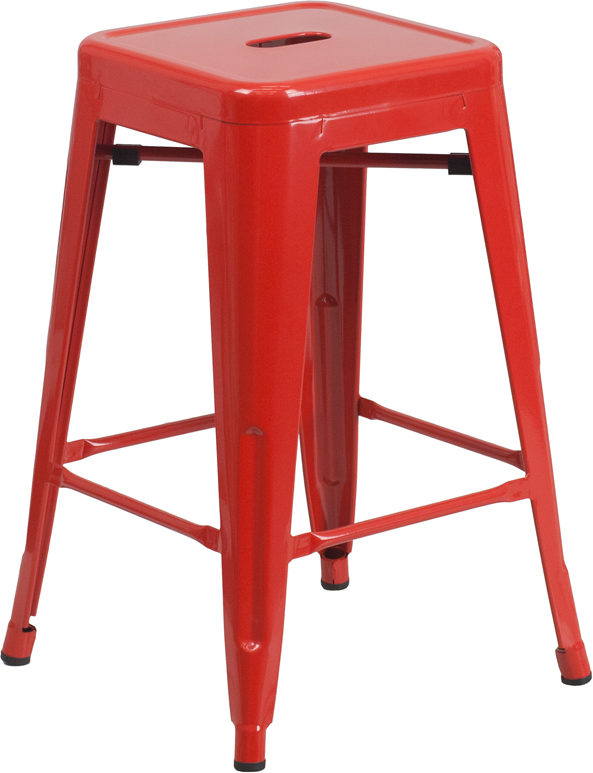 #97 - 24'' BACKLESS RED METAL COUNTER HEIGHT STOOL