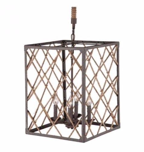 #15 - Unique Cage Like Design Ceiling Lamp in Distressed Brown & Natural w/Twine