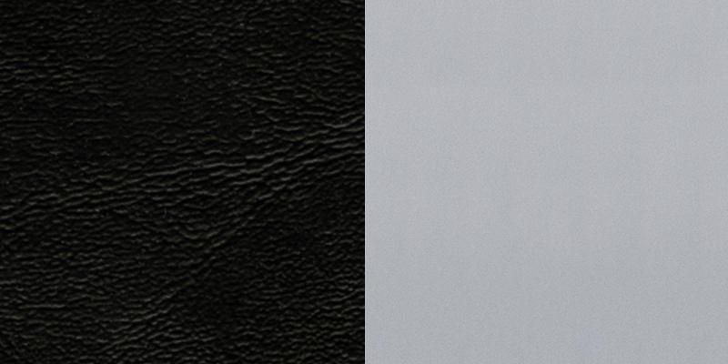 #17 - SILVER SLAT BACK METAL RESTAURANT CHAIR - BLACK VINYL SEAT