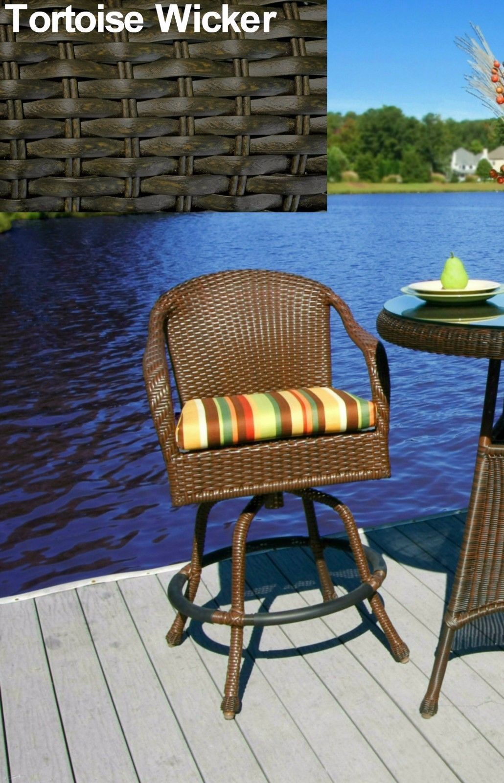 #196 - Stylish Outdoor Patio Garden Barstool in Tortoise Wicker w/Color Fabric Choice