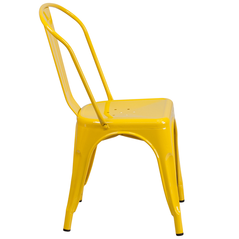 #17 - INDUSTRIAL STYLE YELLOW METAL CHAIR