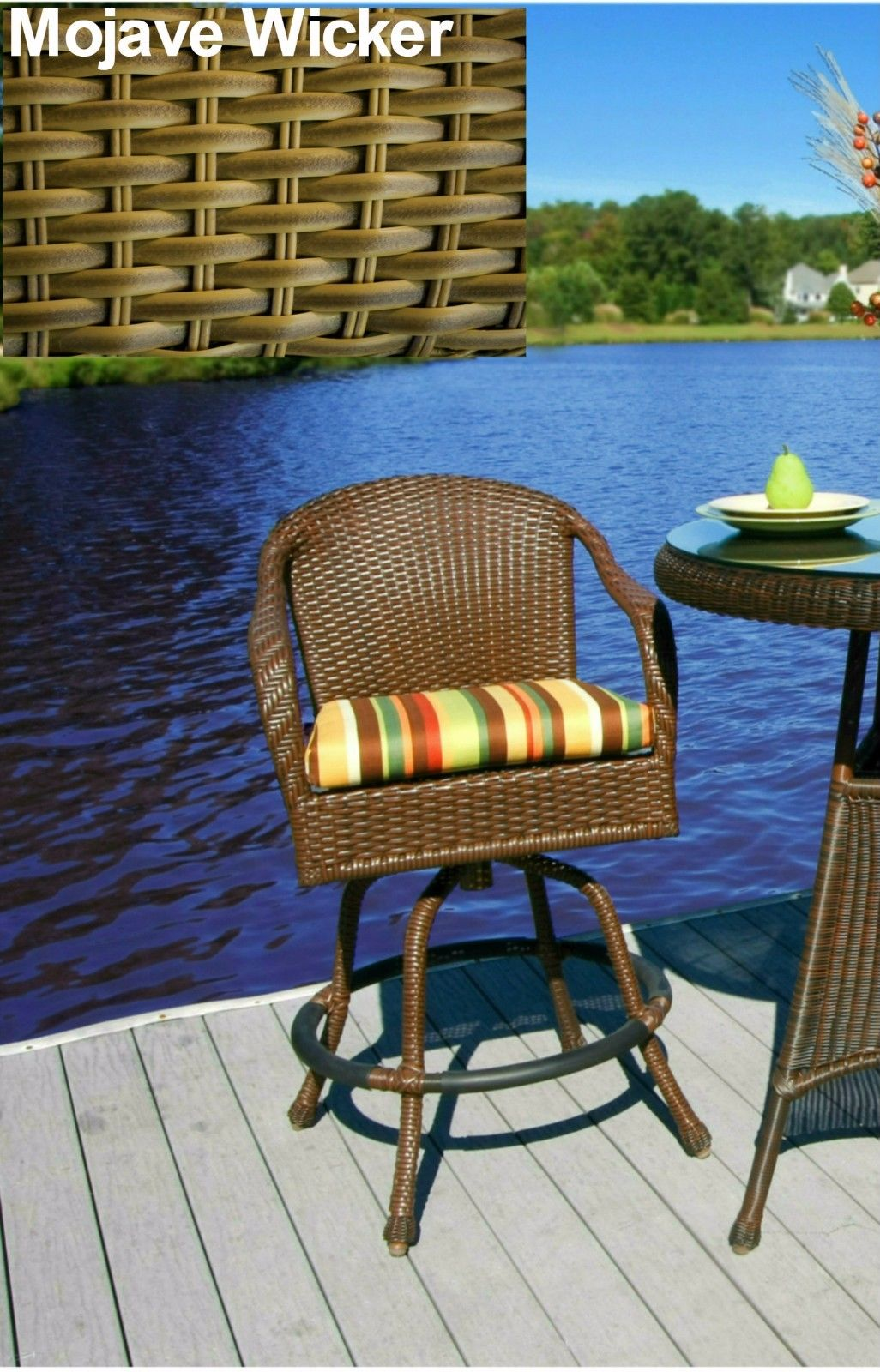 #194 - Stylish Outdoor Patio Garden Barstool in Mojave Wicker w/Color Fabric Choice