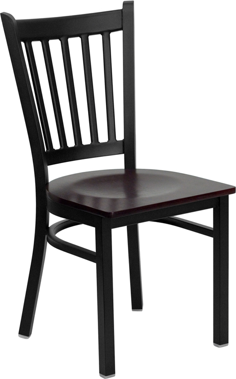 #49 - BLACK VERTICAL BACK METAL RESTAURANT CHAIR - MAHOGANY WOOD SEAT
