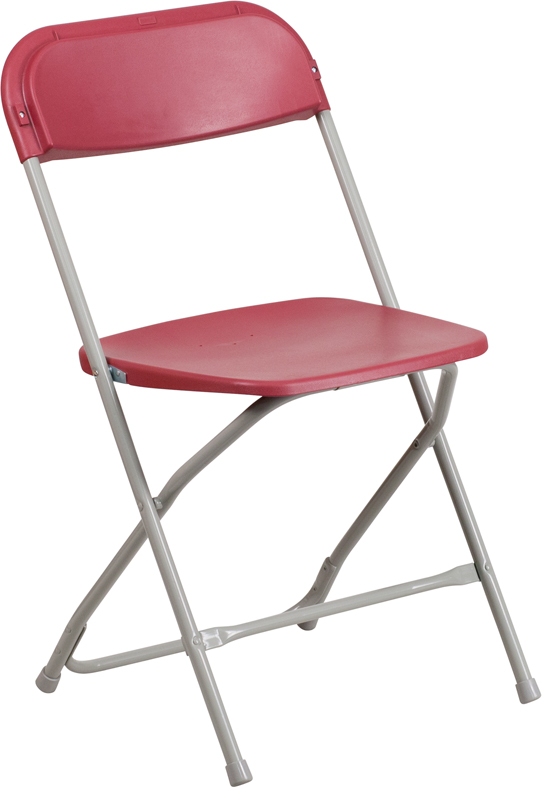 #13 - 225 LB. PLASTIC FOLDING CHAIR RED COLOR