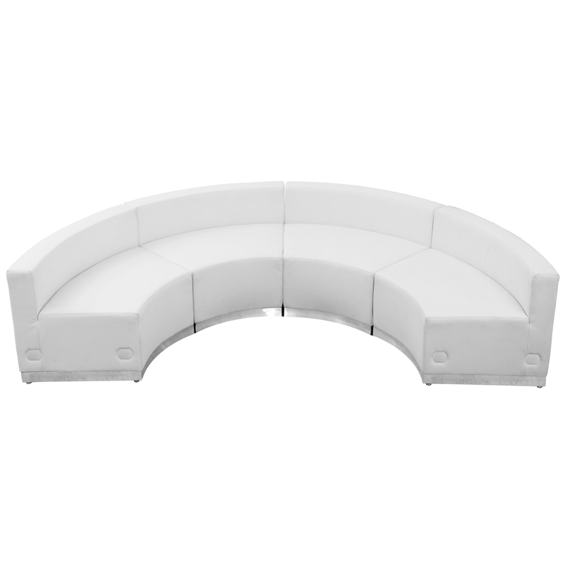 #71 - LOUNGE SERIES WHITE LEATHER RECEPTION CONFIGURATION, 4 PIECES