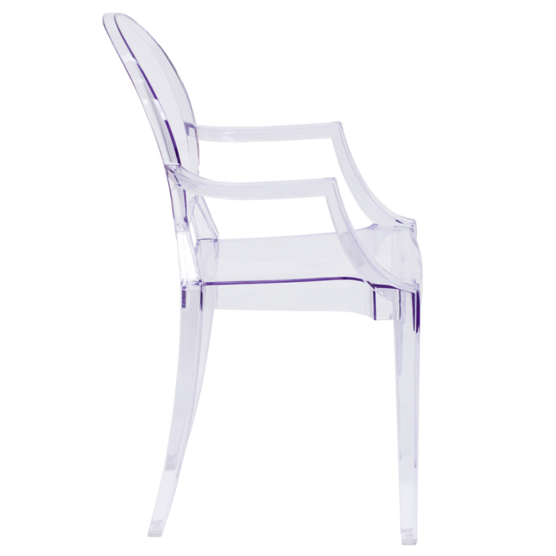 #5 - Crystal Clear Ghost Dinning Chair with Arms in Transparent Crystal