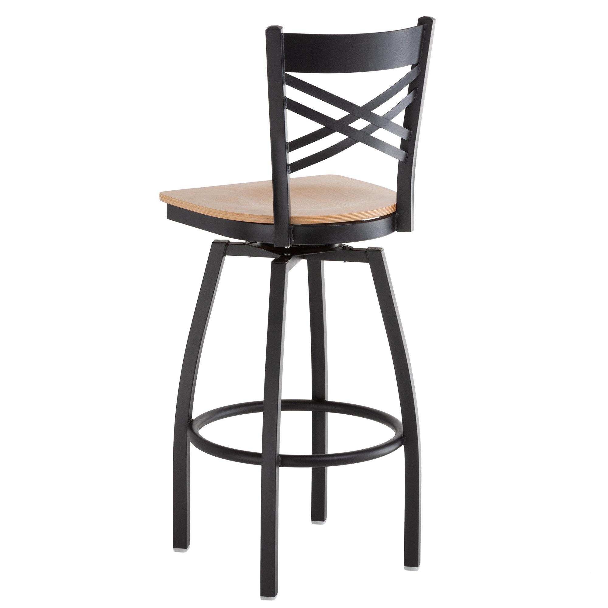 #172 - Cross Back Design Swivel Restaurant Barstool with Natural Wood Seat