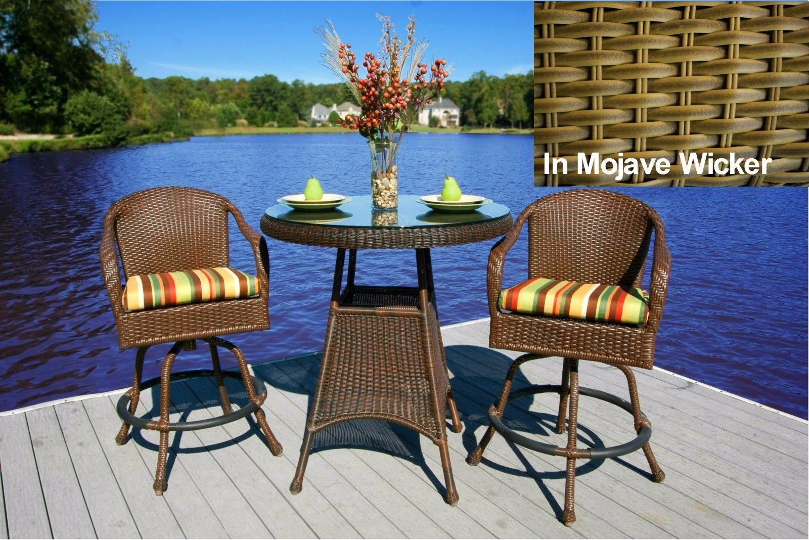 #198 - 3 Piece Outdoor Patio Garden Furniture in Mojave Color Wicker Bar Set