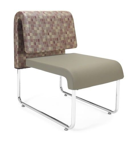 #143 - Uno Series Taupe Plum Reception Lounge Chair