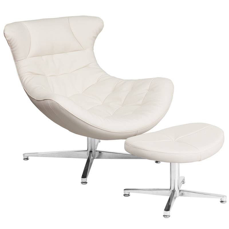 #53 - Retro Style White Leather Cocoon Accent Chair with Ottoman - Cocoon Lounge Chair
