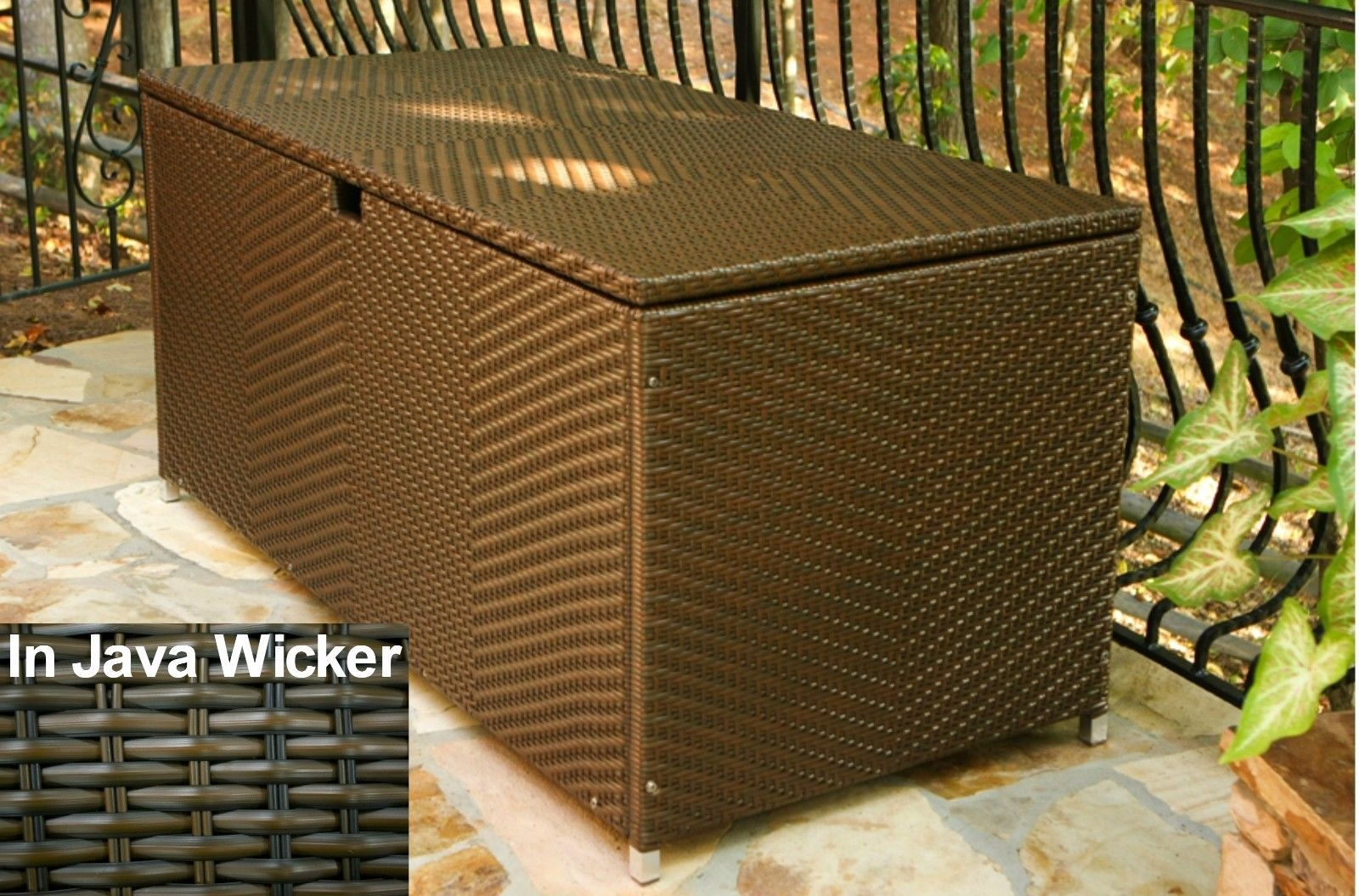 #200 - Outdoor Patio Large Storage Box all-weather Java Wicker with Waterproof Lid