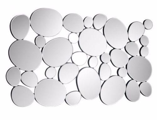 #1 - Unique Modern Style Rectangular Pod Mirror Created w/Mosaic Pebble Mirror Pieces