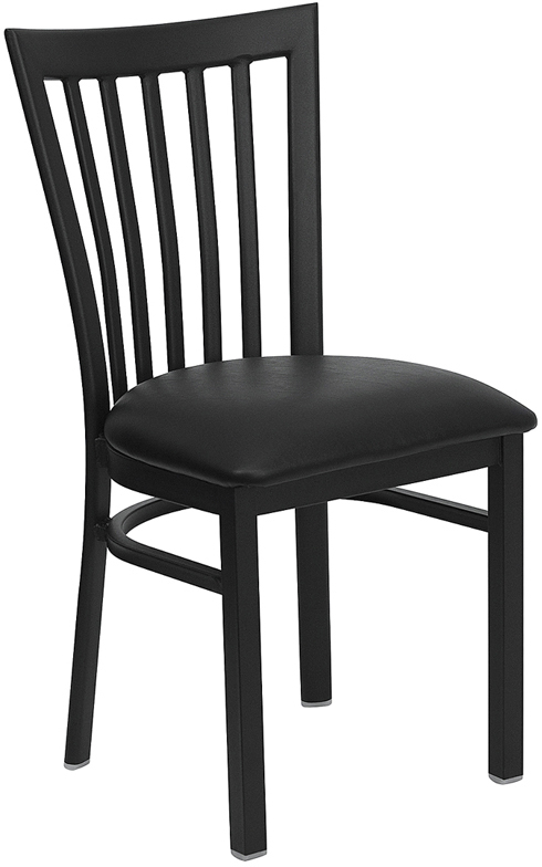#52 - BLACK SCHOOL HOUSE BACK METAL RESTAURANT CHAIR - BLACK VINYL SEAT