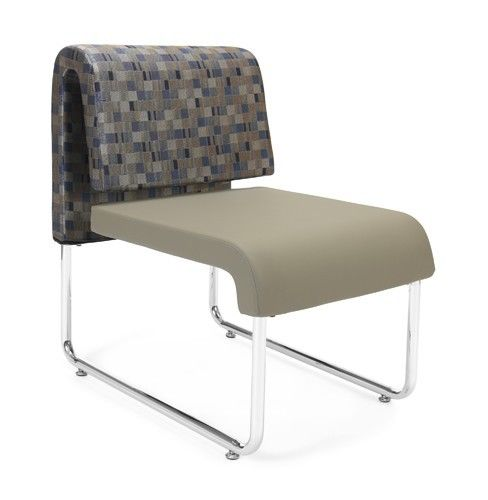 #145 - Uno Series Taupe Bluejay Reception Lounge Chair