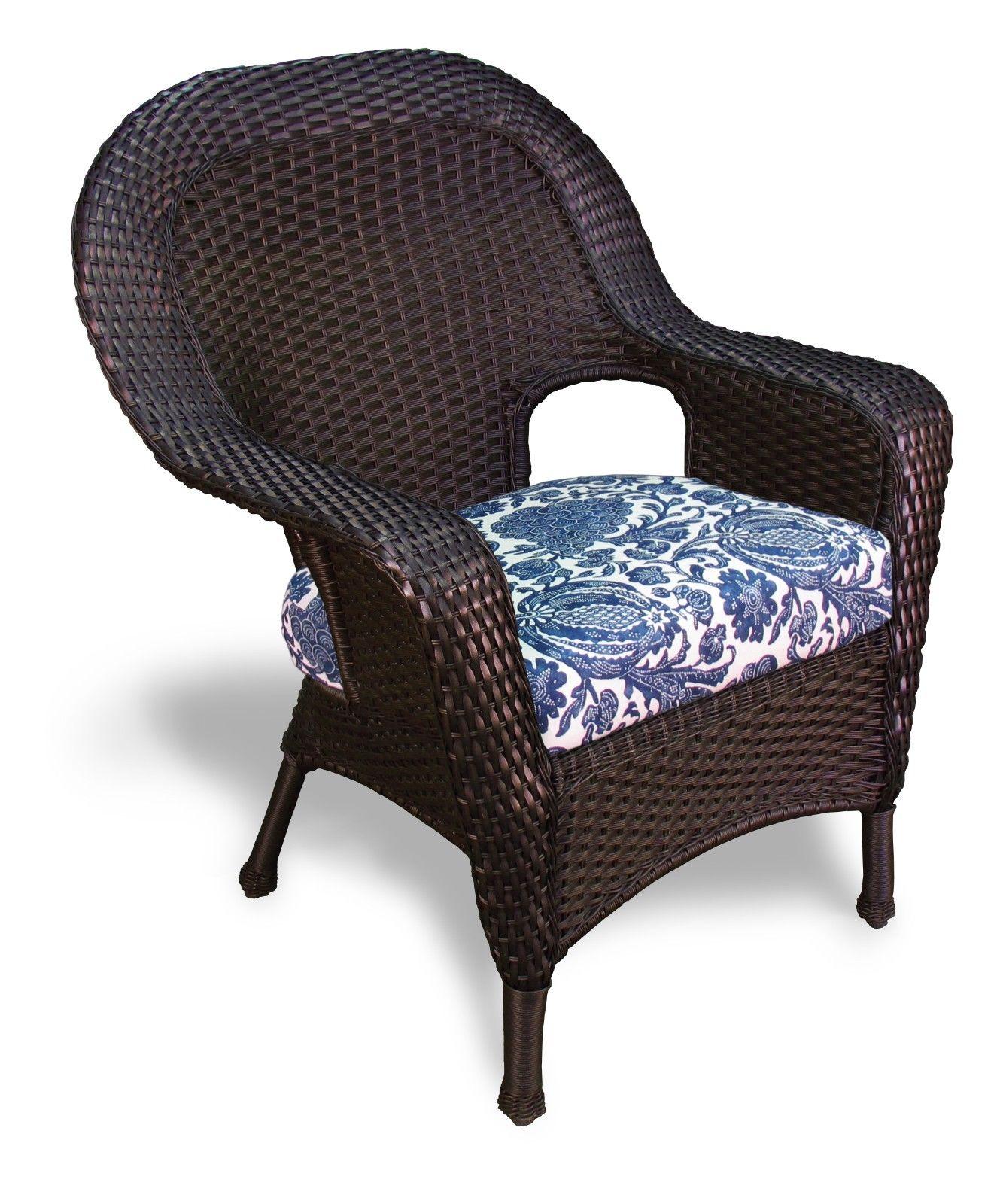 #142 - Outdoor Patio Garden Furniture Tortoise Resin Wicker Dining Chair in Inoteka Indigo