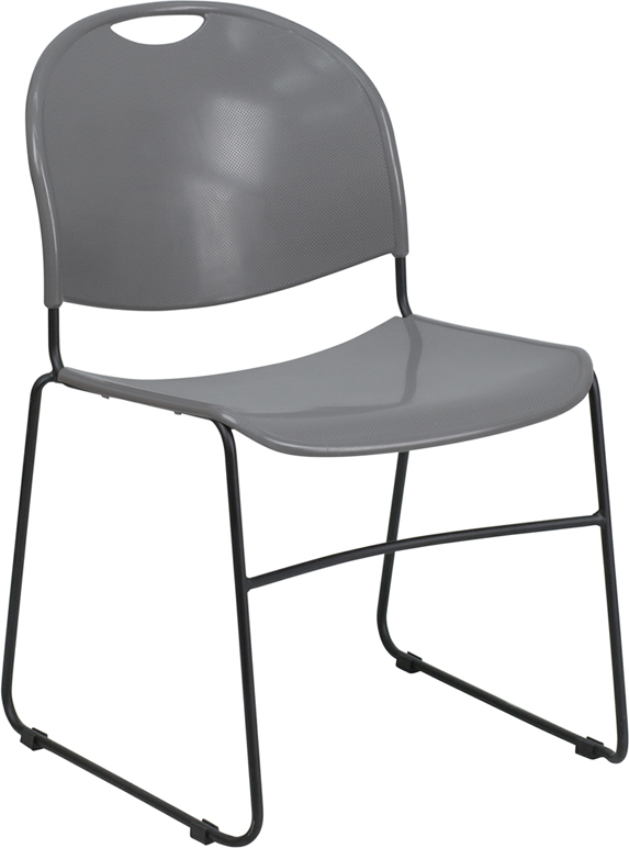 20 -  880 LB. CAPACITY GRAY HIGH DENSITY, ULTRA COMPACT STACK CHAIR WITH BLACK FRAME