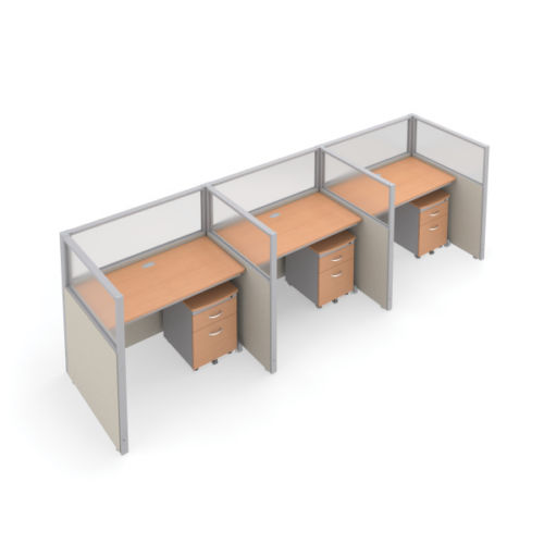 #10 - 47'' H x 48'' W Rize 3 Office Cubicle WorkStation in Beige Vinyl w/Maple Finish