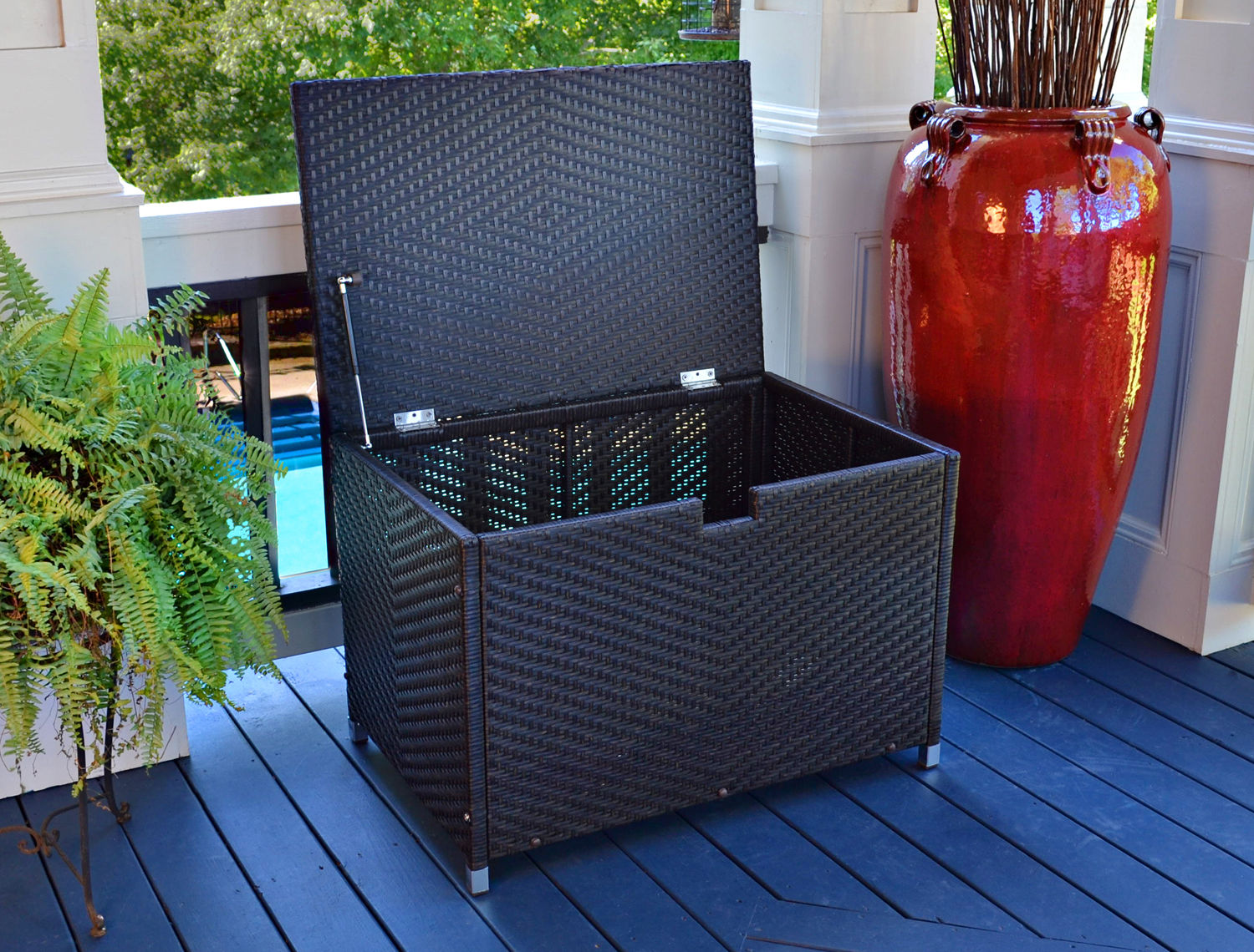 #202 - Medium Size Tortoise Resin Wicker Storage Box - For Indoor or Outdoor Use