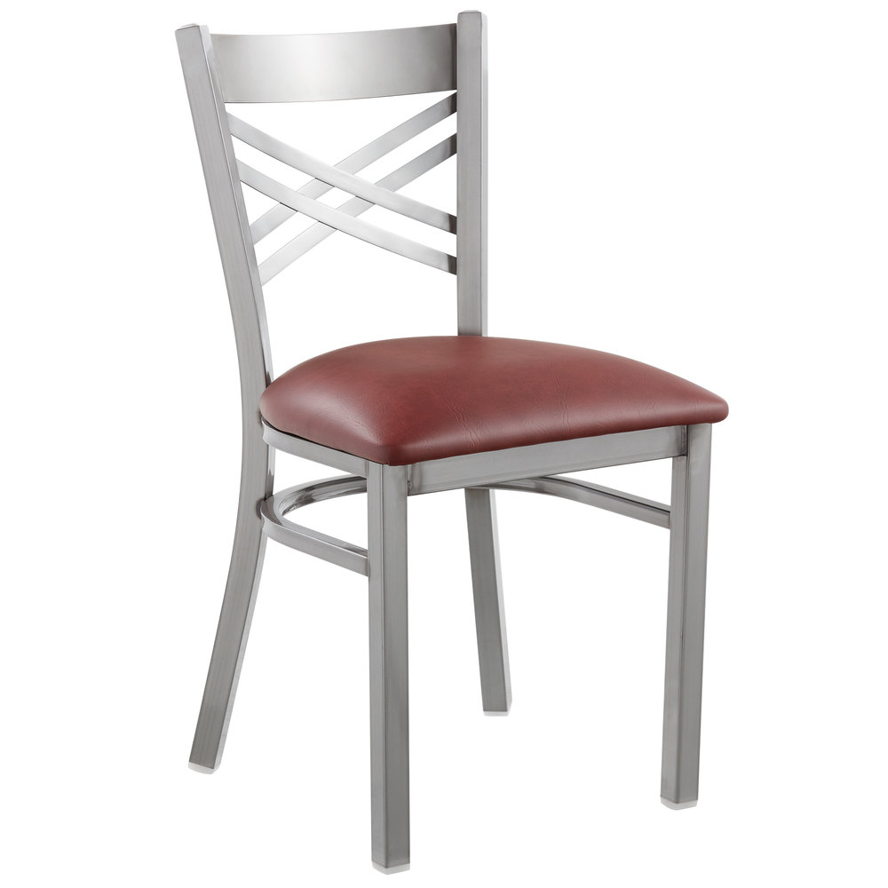 #123 - Clear Coat Steel Cross Back Restaurant Chair with Burgundy Vinyl Padded Seat